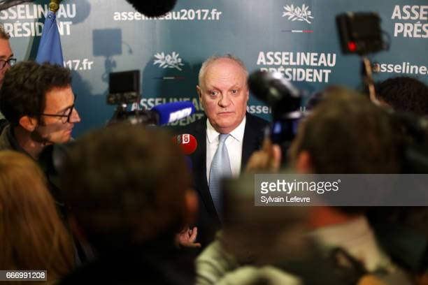 French Presidential Candidate Francois Asselineau holds a press conference before a meeting on April 10, 2017 in Lille, France.
