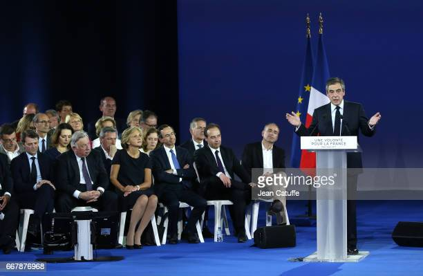 French presidential candidate Francois Fillon of Les Republicains hosts a rally party at Porte de Versailles on April 9 2017 in Paris France