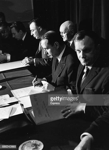 French Presidential Candidate Francois Mitterand at his headquarters 1965