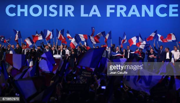 French presidential candidate Marine Le Pen of 'Front National' party is joined on stage by Nicolas DupontAignan President of 'Debout la France'...