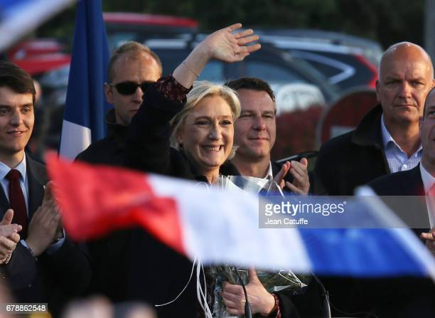 French presidential candidate Marine Le Pen of 'Front National' party holds her last rally before sunday's second round runoff of the French...