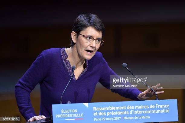 French Presidential Candidate Nathalie Arthaud addresses French Mayors during a conference at Maison de la Radio on March 22 2017 in Paris France The...
