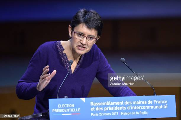 French Presidential Candidate Nathalie Arthaud addresses mayors during a conference at Maison de la Radio on March 22 2017 in Paris France The...