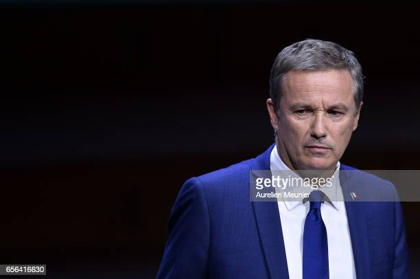 French Presidential Candidate Nicolas Dupont Aignan addresses French Mayors during a conference at Maison de la Radio on March 22 2017 in Paris...