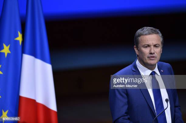 French Presidential Candidate Nicolas Dupont Aignan addresses mayors during a conference at Maison de la Radio on March 22 2017 in Paris France The...
