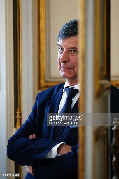 French Presidential chief of staff JeanPierre Jouyet looks on during a ceremony at the Elysee Palace in Paris on March 8 2016 for the official...
