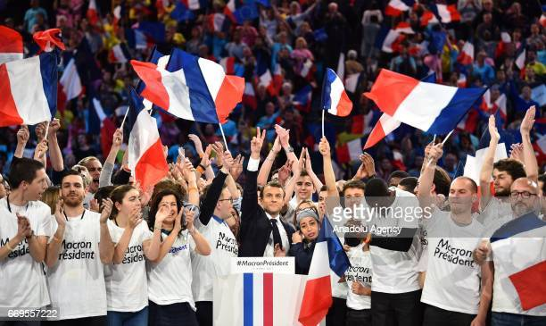 French Presidential Election candidate Emmanuel Macron poses with his supporters during a campaign meeting at the AccorHotels Arena in Paris France...