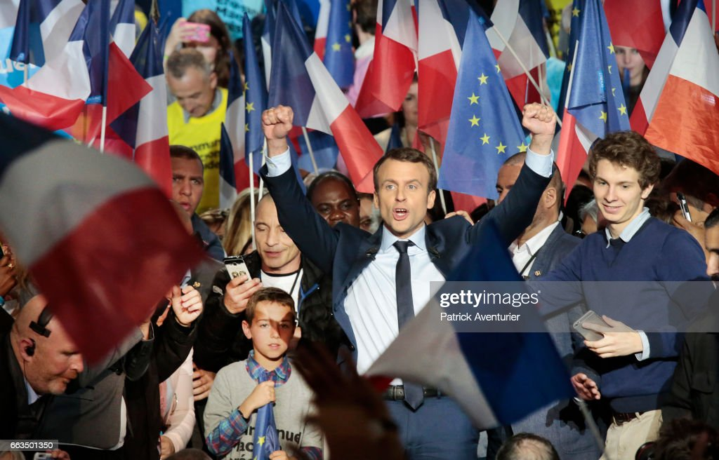 French Presidential Candidate Emmanuel Macron Holds A Rally Meeting In Marseille : News Photo