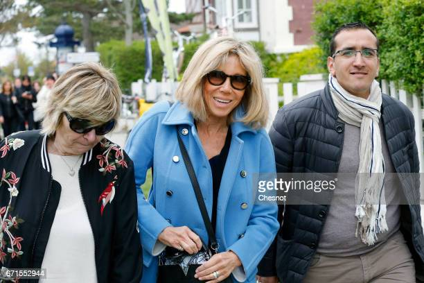 French presidential election candidate for the En Marche movement Emmanuel Macron's advisor Michele Marchand and Brigitte Trogneux wife of Emmanuel...