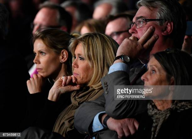 French presidential election candidate for the En Marche movement Emmanuel Macron's wife Brigitte Trogneux and stepdaughter Tiphaine Auziere attend a...