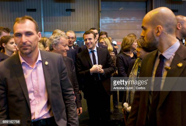 French presidential election candidate for the EnMarche movement Emmanuel Macron visits the 'Salon du Livre' International Book Fair held at the...