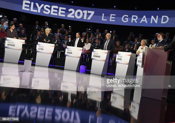 French presidential election candidate for the farleft Lutte Ouvriere party Nathalie Arthaud French presidential election candidate for the farright...