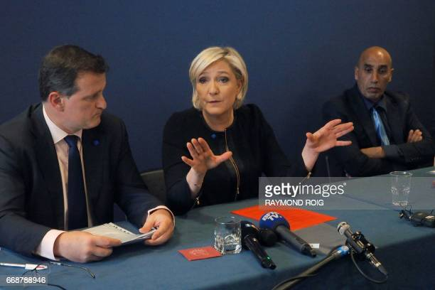 French presidential election candidate for the farright Front National party Marine Le Pen next to her parter and FN vicepresident Louis Alliot...