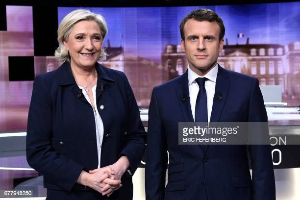 TOPSHOT French presidential election candidate for the farright Front National party Marine Le Pen and French presidential election candidate for the...