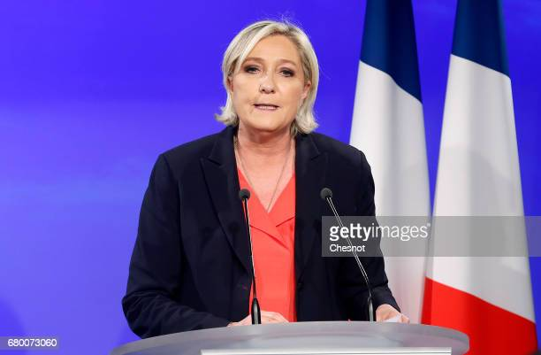 French presidential election candidate for the farright Front National party Marine Le Pen makes a statement after being defeated in the second round...