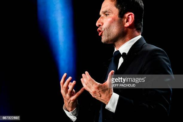 French presidential election candidate for the left-wing French Socialist party Benoit Hamon delivers a speech on April 11, 2017 during a meeting in...