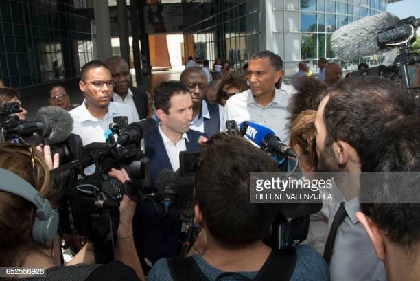 French presidential election candidate for the leftwing Socialist Party Benoit Hamon speaks to journalists during a visit to the Memorial ACTe on...