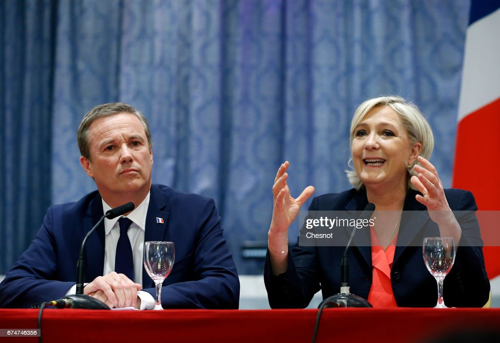 French Presidential Candidate Marine Le Pen And Nicolas Dupont-Aignan Make A Statement In Paris