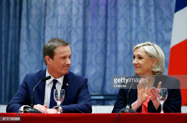 French presidential election candidate for the rightwing 'Debout la France' party Nicolas DupontAignan and French presidential election candidate for...