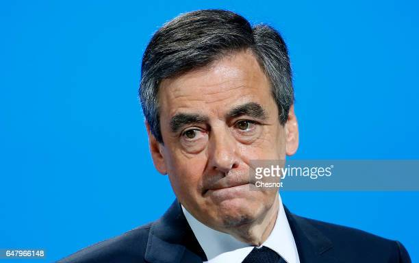 French presidential election candidate for the rightwing Les Republicains party Francois Fillon delivers a speech to present his program during a...