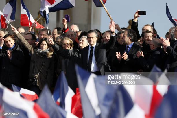French presidential election candidate for the rightwing Les Republicains party Francois Fillon flanked by his wife Penelope Fillon and his daughter...