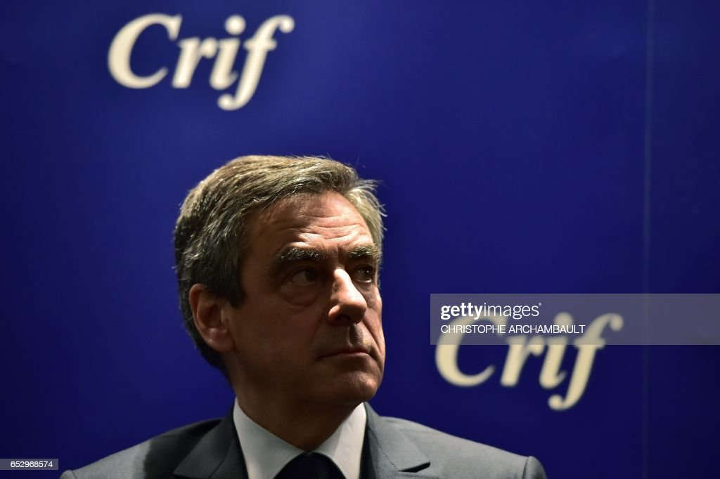 French presidential election candidate for the right-wing Les Republicains (LR) party Francois Fillon looks on during a conference at the Jewish Institutions Representative Council (Conseil Representatif des Institutions juives de France - CRIF) on March 13, 2017 in Paris. /