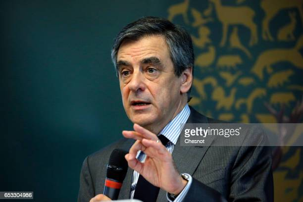 French presidential election candidate for the rightwing Les Republicains party Francois Fillon delivers a speech during a meeting of the General...