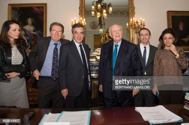 French presidential election candidate for the rightwing Les Republicains party Francois Fillon and MP Valerie Boyer are welcomed by Marseille's...