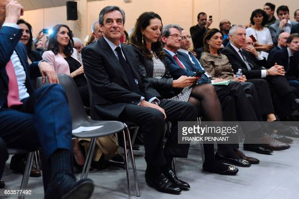 French presidential election candidate for the rightwing Les Republicains party Francois Fillon and MP Valerie Boyer attend a campaign rally on March...