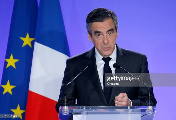 French presidential election candidate for the rightwing 'Les Republicains' political party Francois Fillon makes a statement during a press...