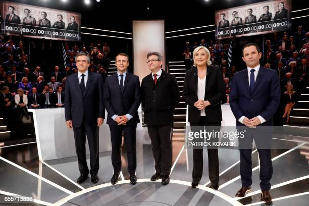 TOPSHOT French presidential election candidates rightwing Les Republicains party Francois Fillon En Marche movement Emmanuel Macron farleft coalition...
