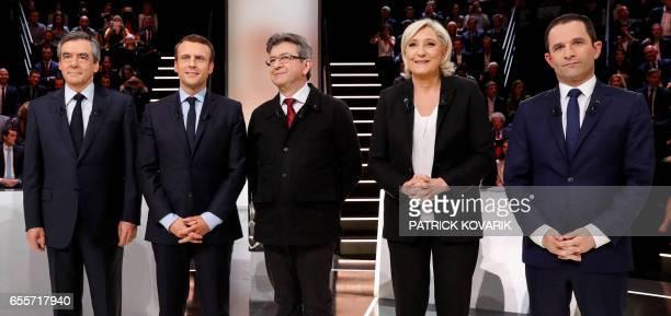 French presidential election candidates rightwing Les Republicains party Francois Fillon En Marche movement Emmanuel Macron farleft coalition La...