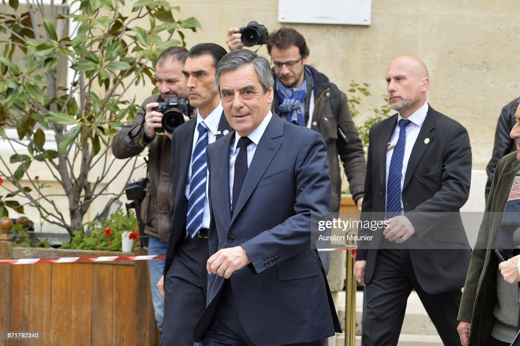 French Presidential right wing candidate Francois Fillon leaves after voting on April 23, 2017 in Paris, France. France will hold the second round of the presidential elections on 07 May 2017.
