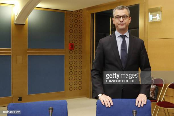 TOPSHOT French President's chief of staff Alexis Kohler appears before the Senate Law Commission in Paris on July 26 2018 in the case of former top...