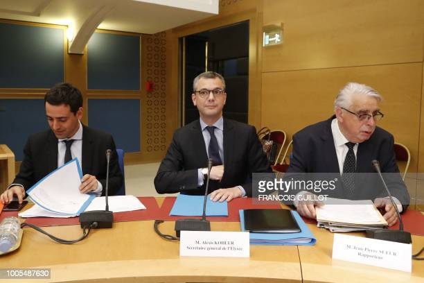 TOPSHOT French President's chief of staff Alexis Kohler sits next to member of the Senate Law Commission French Senator of the Loiret department...