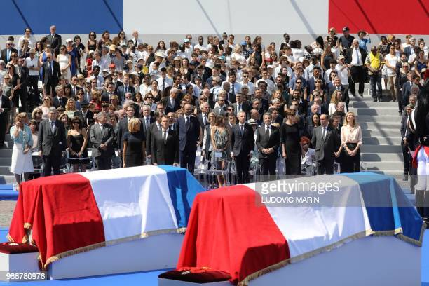 French President's wife Brigitte Macron and France's President Emmanuel Macron the sons of late French politician and Holocaust survivor Simone Veil...