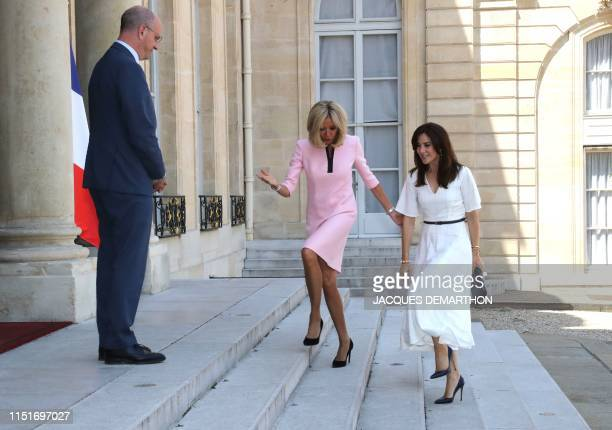 French president's wife Brigitte Macron and French Education and Youth Affairs Minister Jean-Michel Blanquer welcome Crown Princess Mary of Denmark...