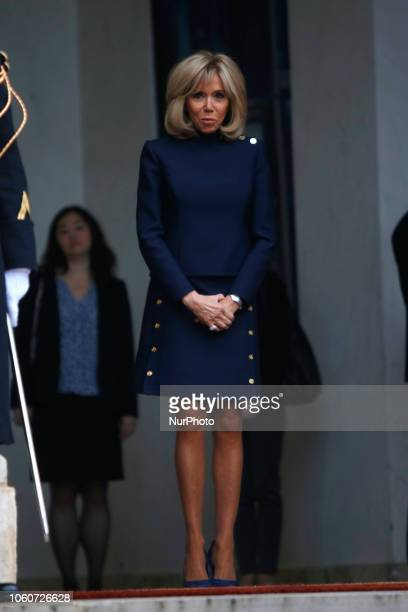 French President's wife Brigitte Macron, arrives at the Elysee Palace in Paris on November 10, 2018 for a meeting of commemorations marking the 100th...