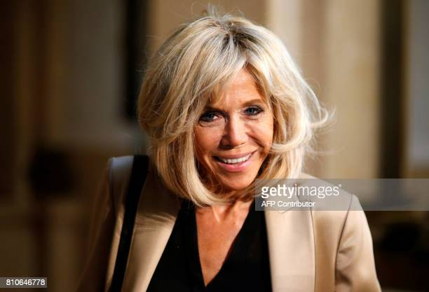 French President's wife Brigitte Macron arrives to attend the partners' programme at the city hall during the G20 summit in Hamburg northern Germany...