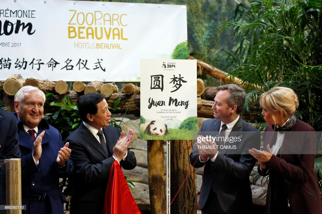 French president's wife Brigitte Macron (R), Chinese Vice Foreign minister Zhang Yesui (2ndL), former French prime minister, Jean-Pierre Raffarin (L) and French Junior Minister for Foreign Affairs, Jean-Baptiste Lemoyne attend a naming ceremony for a panda born at the Beauval zoo, on December 4, 2017 in Saint-Aignan-sur-Cher. The 4-month-old cub was called Yuan Meng, which means 'Fulfillment of a dream'. / AFP PHOTO / POOL / Thibault Camus