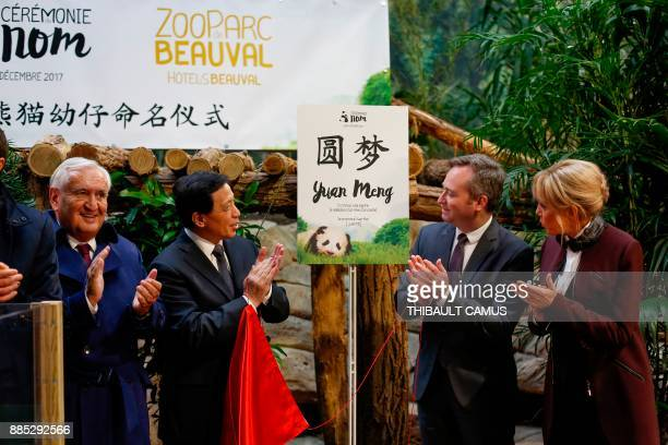 French president's wife Brigitte Macron Chinese Vice Foreign minister Zhang Yesui former French prime minister JeanPierre Raffarin and French Junior...