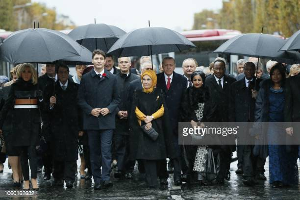 French President's wife Brigitte Macron Cyprus' President Nicos Anastasiades Canadian Prime Minister Justin Trudeau Turkish President's wife Emine...