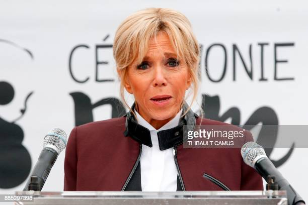 French president's wife Brigitte Macron delivers a speech during a naming ceremony for panda cub Yuan Meng which was born at the Beauval zoo on...