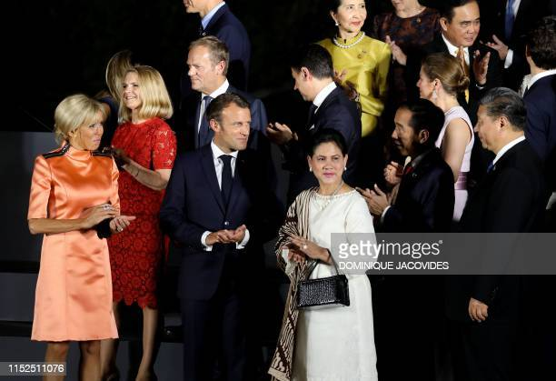 French President's wife Brigitte Macron , European Council President Donald Tusk and his wife Malgorzata French President Emmanuel Macron ,...