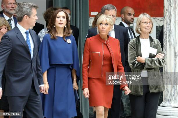French President's wife Brigitte Macron French Culture Minister Francoise Nyssen Crown Princess Mary and Crown Prince Frederik visit the Ny Carlsberg...