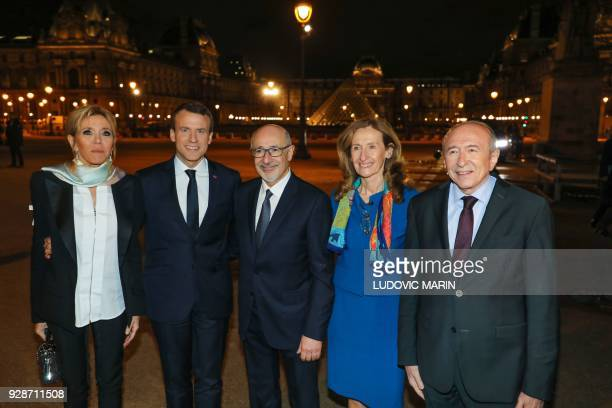French president's wife Brigitte Macron French President Emmanuel Macron CRIF president Francis Kalifat French Justice Minister Nicole Belloubet and...