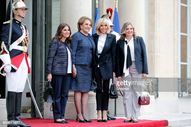 French President's wife Brigitte Macron leaves the Elysee Palace with General and Lebanese President's wife Nadia Aoun with her daughters Chantal and...