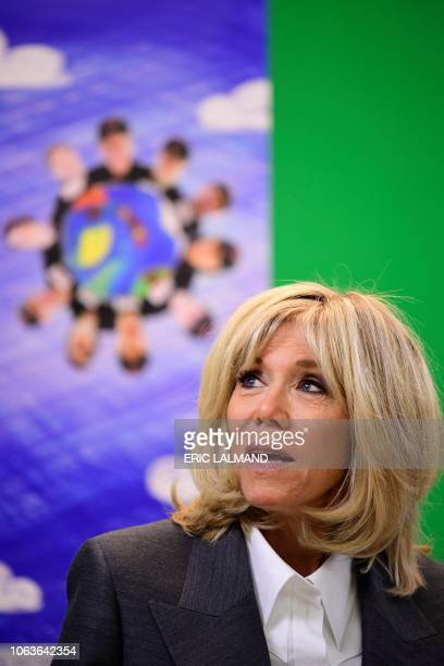 French president's wife Brigitte Macron visits La Maisonnee care centre for people with an intellectual disability in Ittre on November 20 on the...