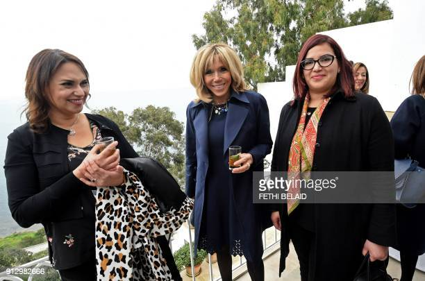 French President's wife Brigitte Macron visits the home of late Tunisian stylist Ezzedine Alaïa which has been turned into a museum in Sidi Bou Said...