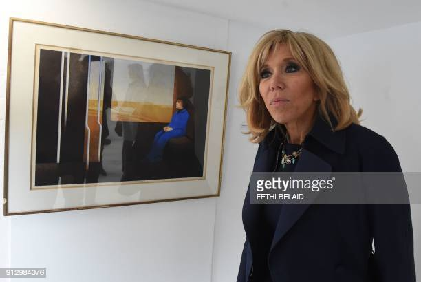 French President's wife Brigitte Macron visits the home of late Tunisian stylist Ezzedine Alaya which has been turned into a museum in Sidi Bou Said...